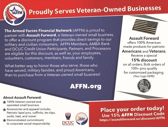 AFFN Veteran Owned Business Support Assault Forward Special Offer Card